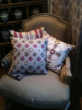 French Linen Chair with Clarke & Clarke Cushions
